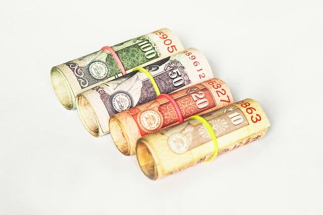 barevné bankovky, 4 roličky